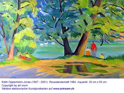 """""""Reusslandschaft"""", Aquarell, 1982"""