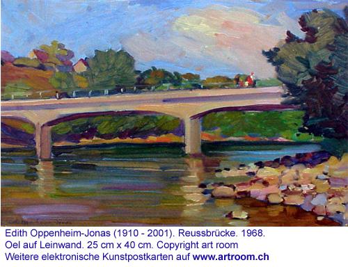 """""""Flusslandschaft (Reussbrücke)"""", Öl auf Leinwand, 1968"""