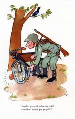 """""""Obacht - gsehscht denn no nüt?"""", Postkarte für die Schweizer Armee von Edith Oppenheim-Jonas"""